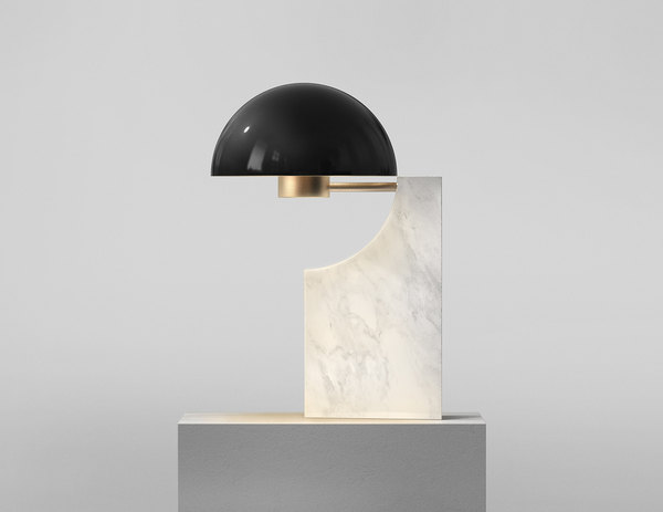 The Venn series, a Carrara marble lighting set.
